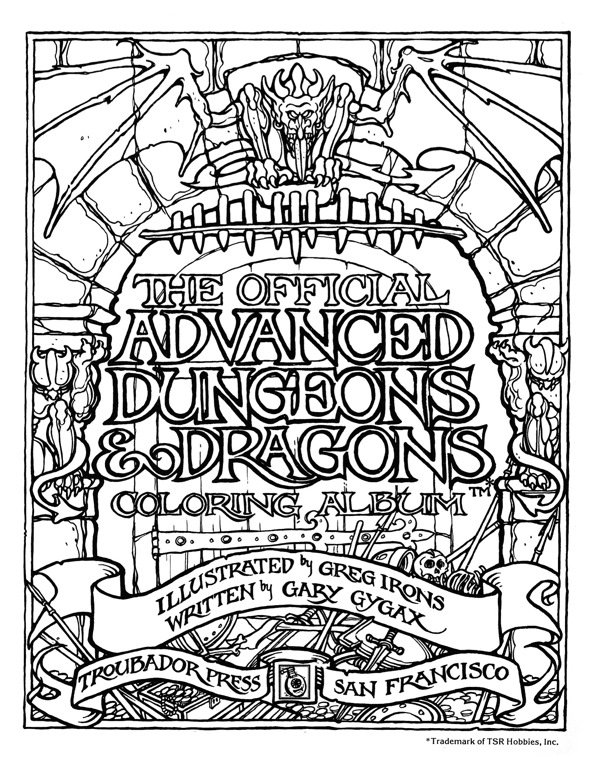 The official advanced dungeons dragons coloring album Coloring book album cover