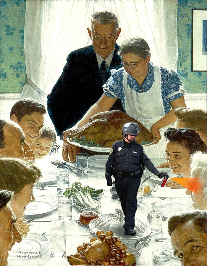 u0026quot a pepper spray thanksgiving  u0026quot  norman rockwell u0026 39 s long