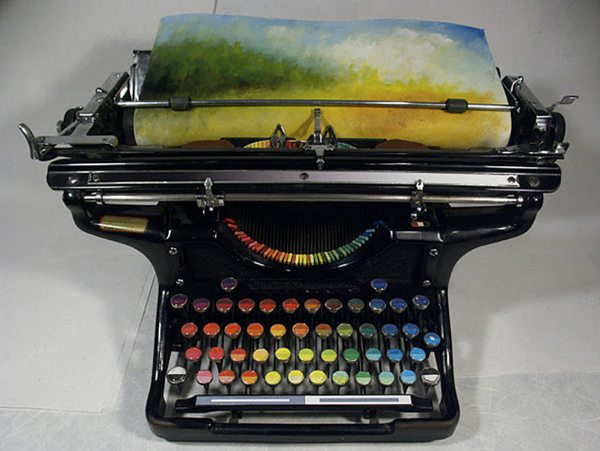 beautiful typewriter for painting paintwriter first color printer