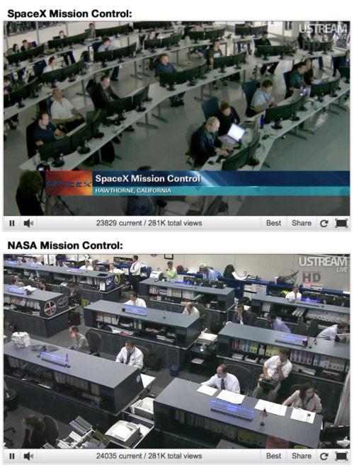 SpaceX mission control vs. NASA mission control (photo ...