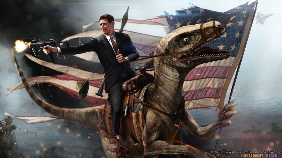 Reagan on a velociraptor boing boing