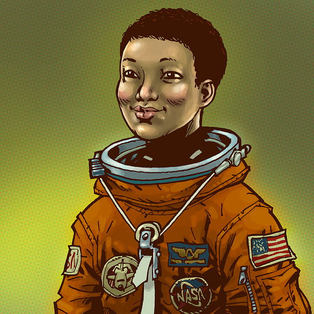 mae jemison coloring page - illustrated portraits of woman astronauts boing boing