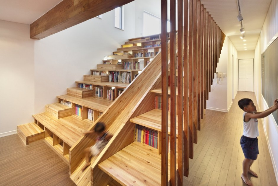 bookcase staircase slide boing boing. Black Bedroom Furniture Sets. Home Design Ideas
