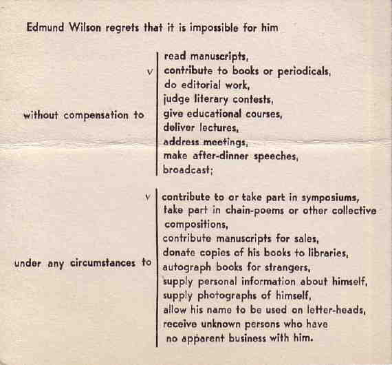 How Edmund Wilson said NO