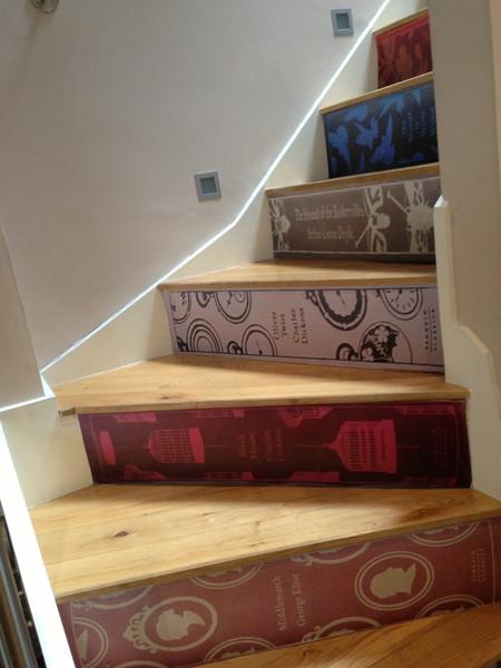 book spine stair riser decals boing boing. Black Bedroom Furniture Sets. Home Design Ideas