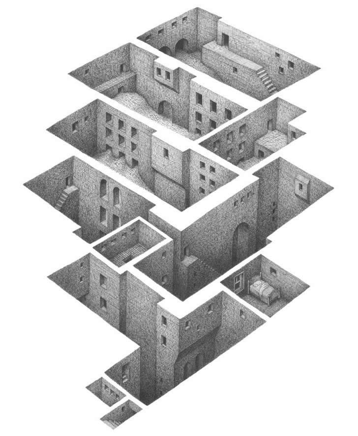 This day in blogging history escheresque cityscapes bbci for Architectural drawings online