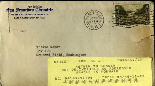 Usps Return Label >> Letter sent in 1945 just now returned to sender / Boing Boing