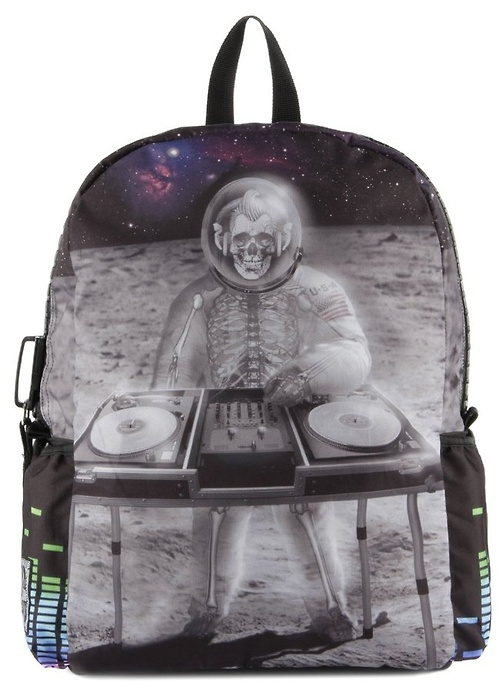 Rockabillly space-skeleton DJ backpack