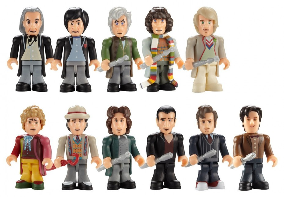 All eleven Doctors as micro-figures