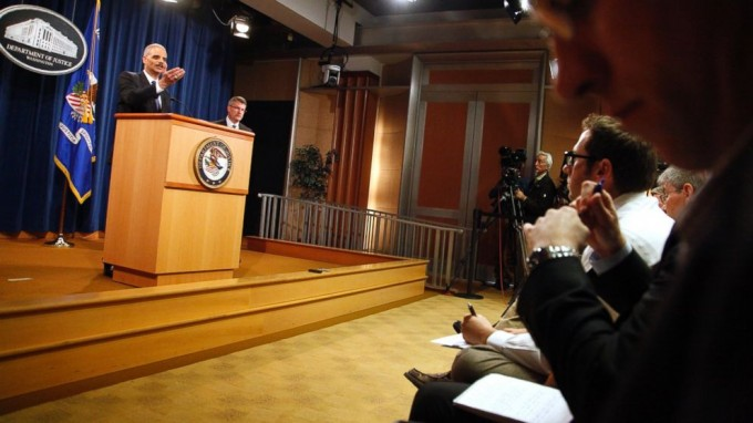 U.S. Attorney General Eric Holder addresses reporters at a news conference at the Justice Department in Washington, D.C. on May 14, 2013. Jonathan Ernst/Reuters