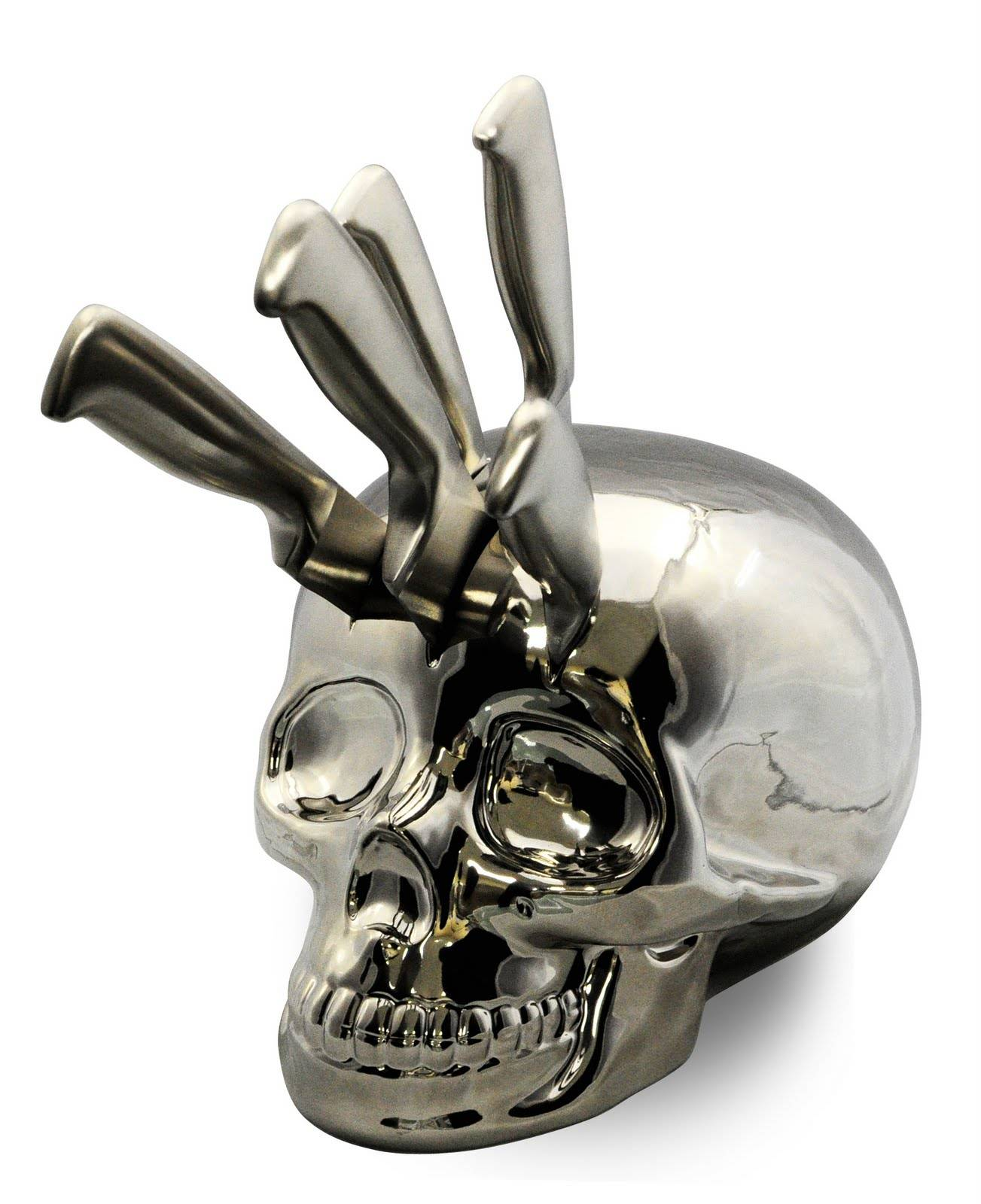 Chrome Skull Knife Block Boing Boing