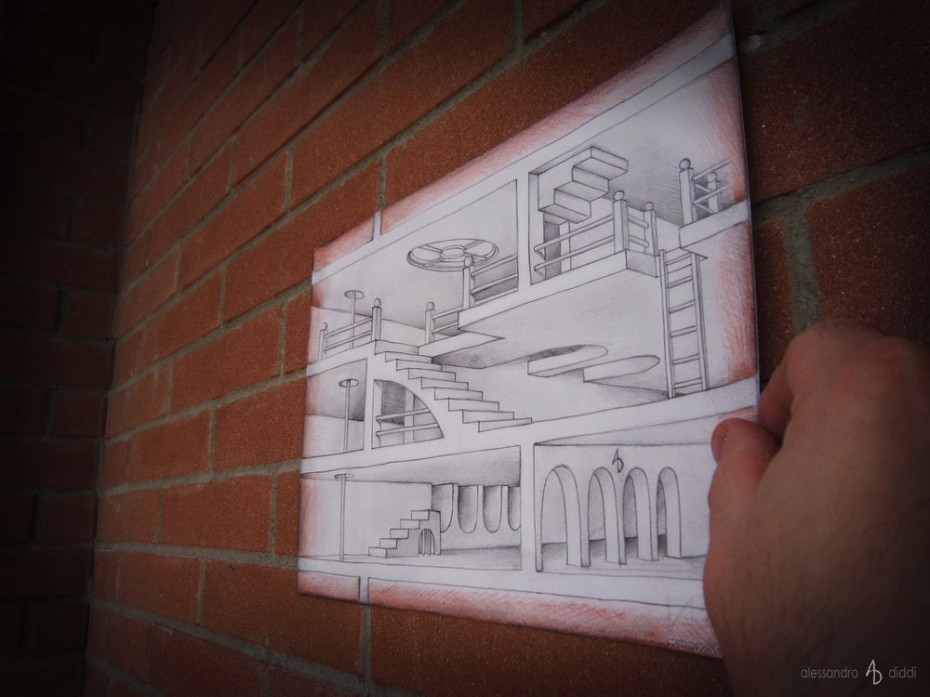 Mindblowing anamorphic 3D drawings by Alessandro Diddi