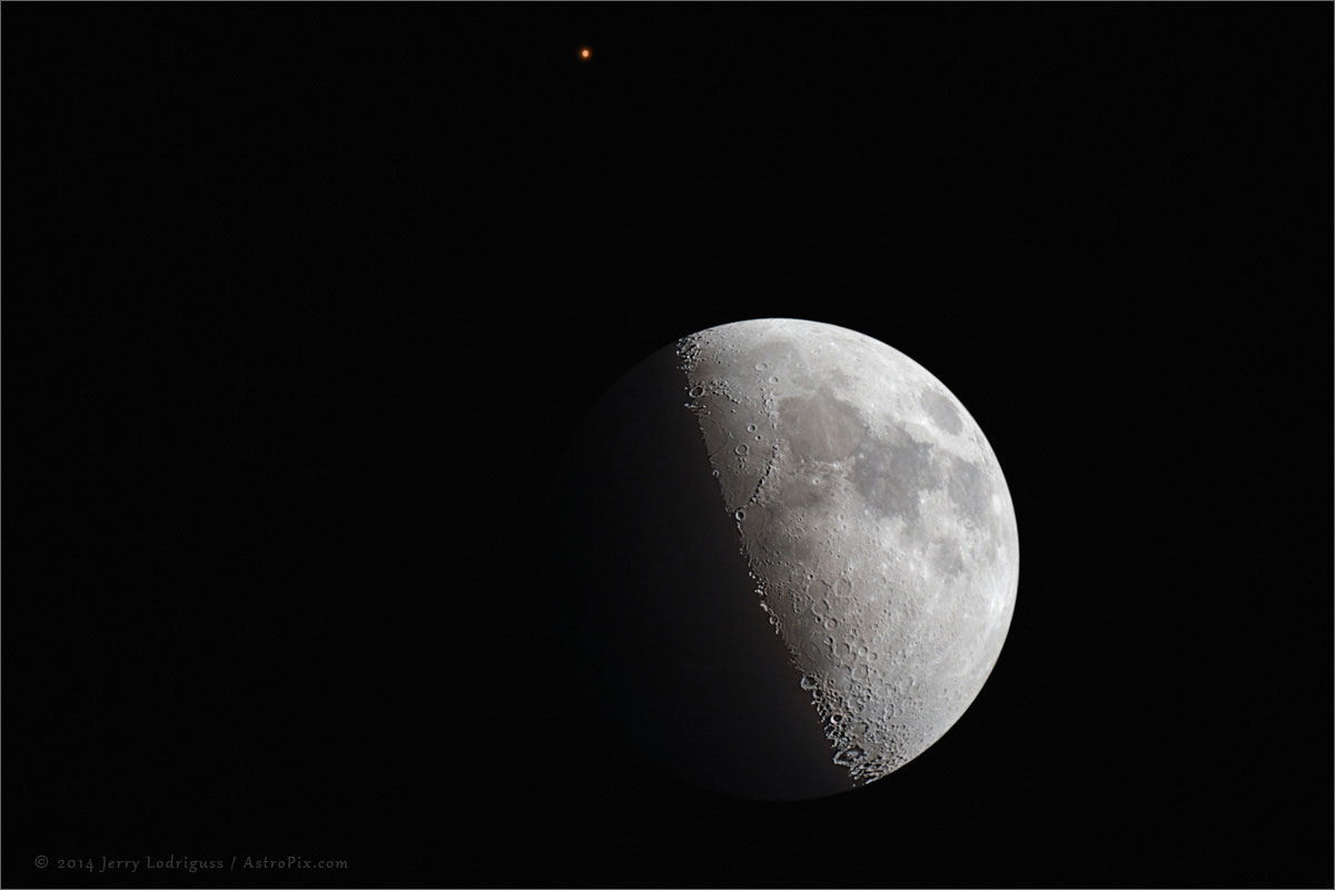 A beautiful photo of the Moon and Mars, close together on ...