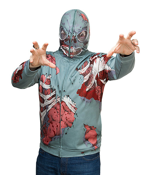 Gory zombie hoodie with zipoverface-mask