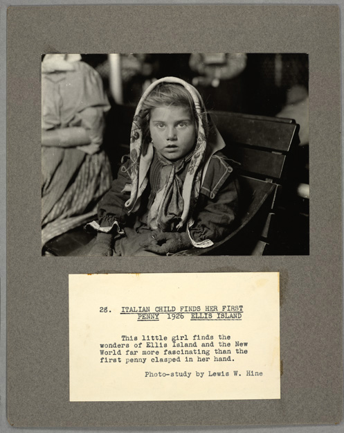 Courtesy of The New York Public Library/Lewis W Hine. Italian child finds her first penny, 1926.