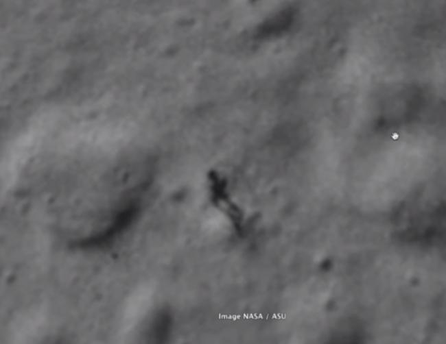 Humanoid figure spotted on moon