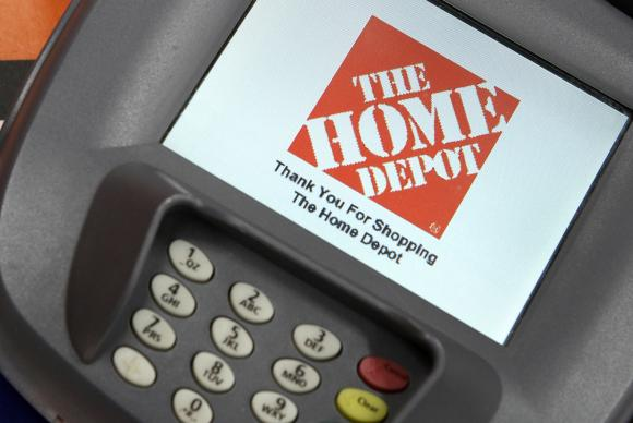 A closeup of an electronic payment station is shown at a Home Depot store in Daly City, California, in this February 21, 2012 file photo.  [REUTERS]