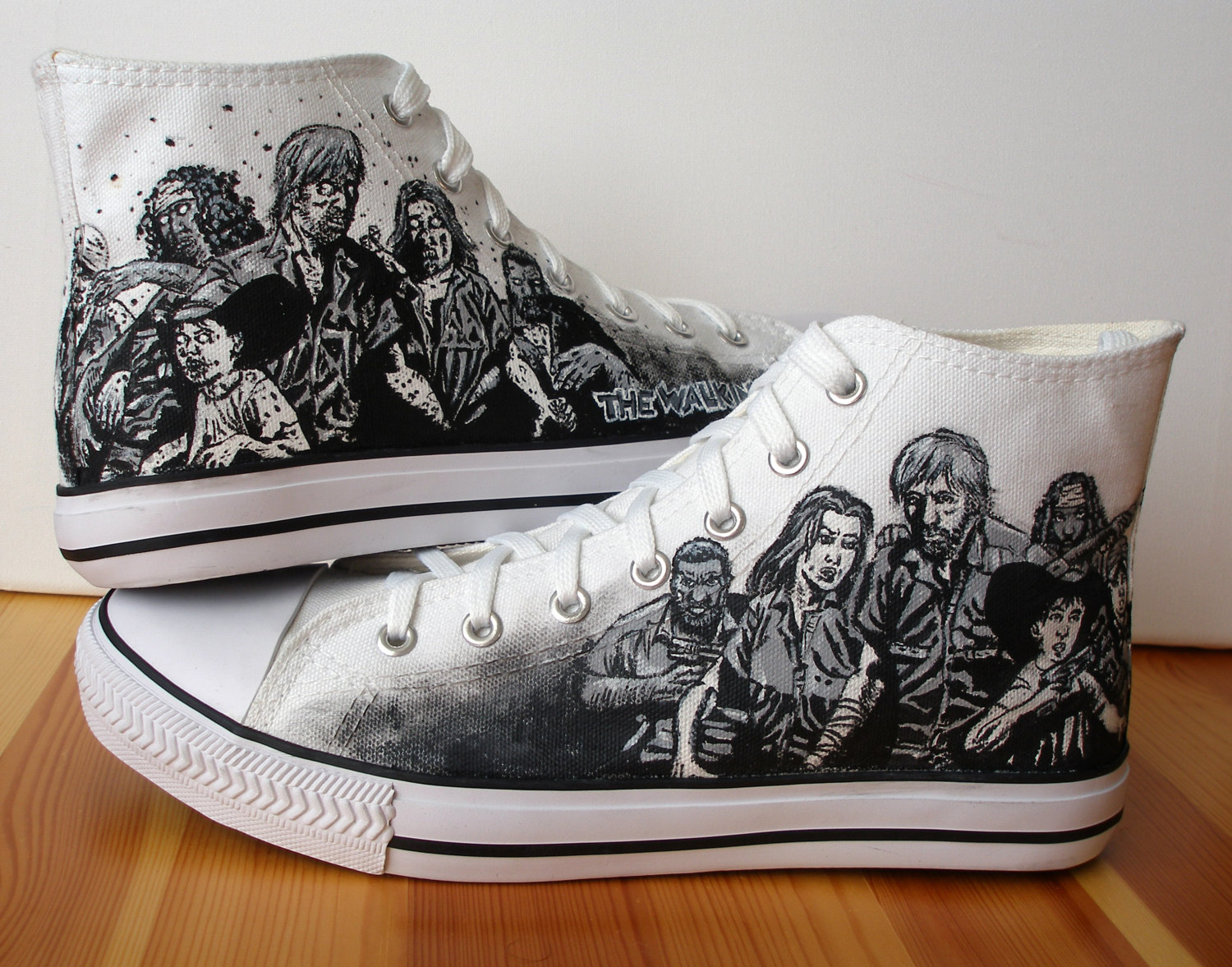 Hand-painted custom Walking Dead shoes / Boing Boing