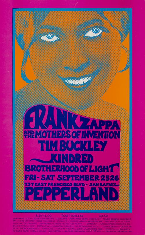 Frank Zappa, September 25-26, 1970, Pepperland, San Rafael. Artist: Mark Twain Behrens.
