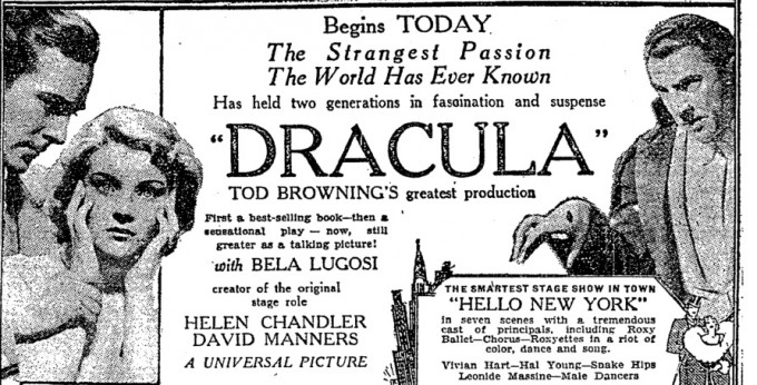 NYT ad for Dracula's Broadway premiere, 1931, starring BelaLugosi