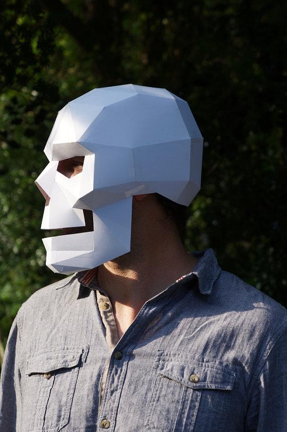 Polygon paper skull mask / Boing Boing