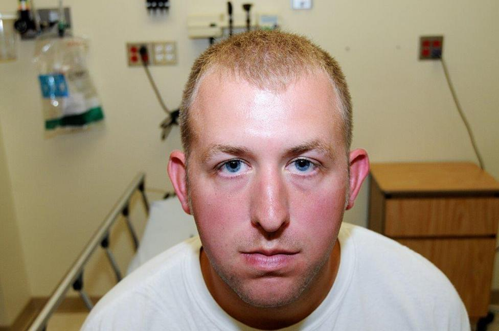 Ferguson police officer Darren Wilson in a photo, presented to the grand jury, taken shortly after the shooting of Michael Brown. REUTERS/St. Louis County Prosecutor's Office