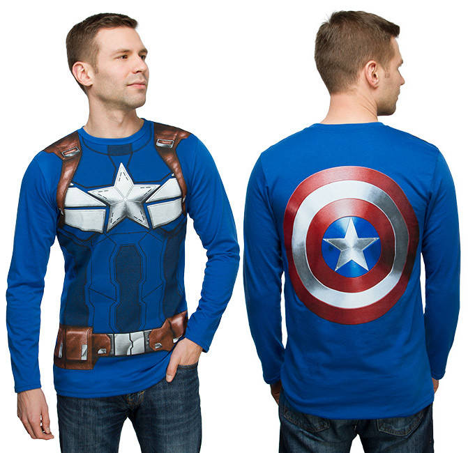Captain America shirt with giant shield on theback