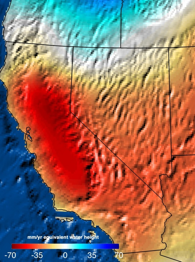 NASA GRACE satellite data reveal the severity of California's drought on water resources across the state. This map shows the trend in water storage between September 2011 and September 2014. Image: NASA JPL