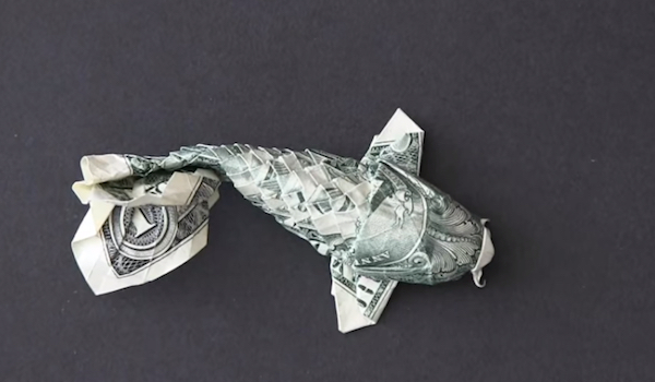 Watch time lapse origami turns a dollar bill into a koi for Dollar bill origami fish