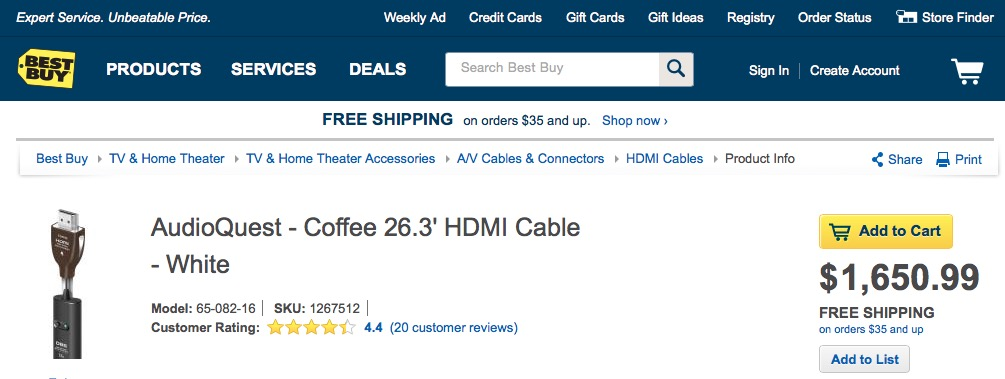 Coffee White HDMI Cable
