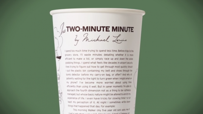 The life-changing trick author Michael Lewis (Liar's Poker, Moneyball) wrote on a Chipotle cup