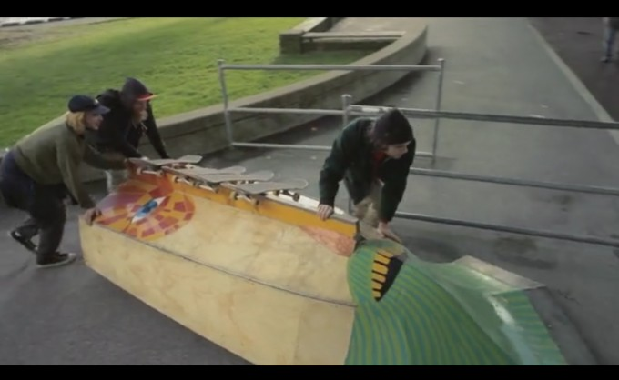 Wooden boats and other structures transform into skate ramps