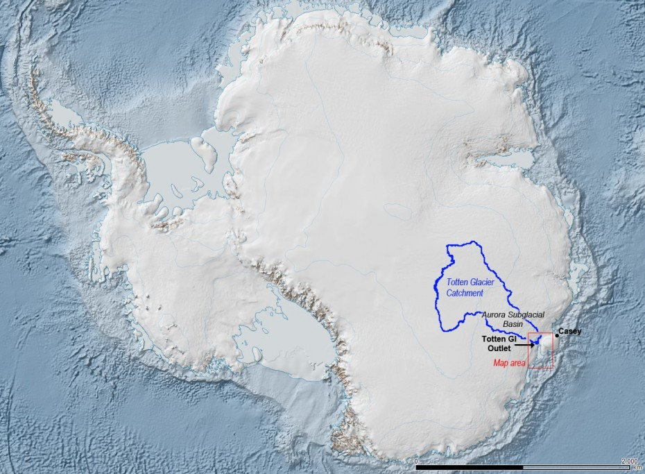 The Totten Glacier catchment (outlined in blue) is a collection basin for ice and snow that flows through the glacier. It's estimated to contain enough material to raise sea levels by at least 11 feet. Image: Australian Antarctic Division.