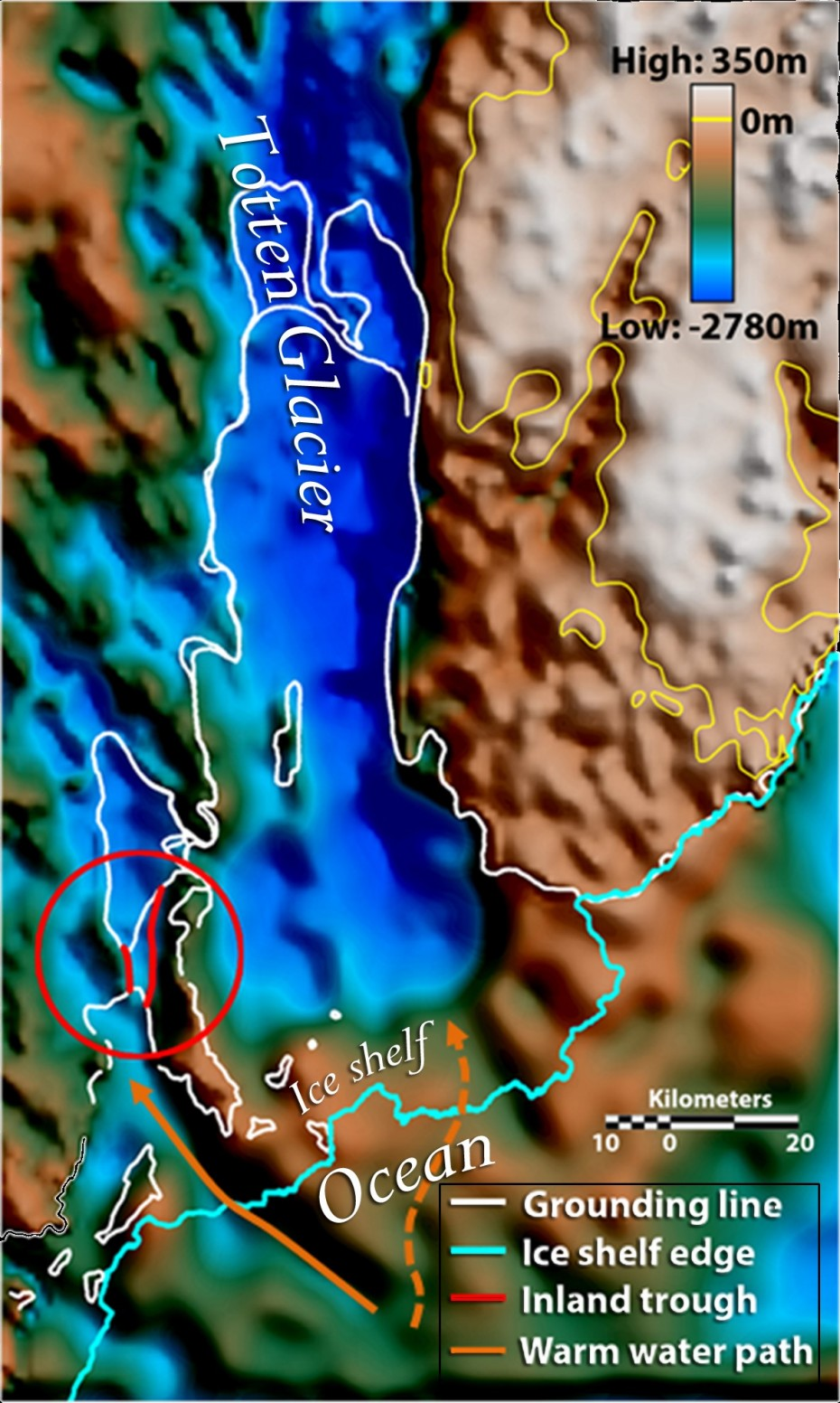 A map showing the previously-hidden landscape beneath Totten Glacier. Orange arrows indicate seafloor valleys deep enough to allow warm water to enter beneath the floating ice. The solid orange arrow leads to the deeper of the two gateways, a three-mile-wide seafloor valley. Image: Jamin Greenbaum, U. Texas