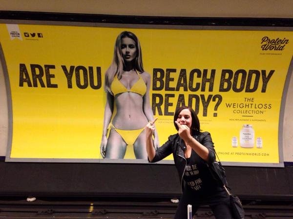 "Londoners reject sexist ""beach body"" ad with creative protests ...: http://boingboing.net/2015/05/01/londoners-reject-sexist-bea.html"
