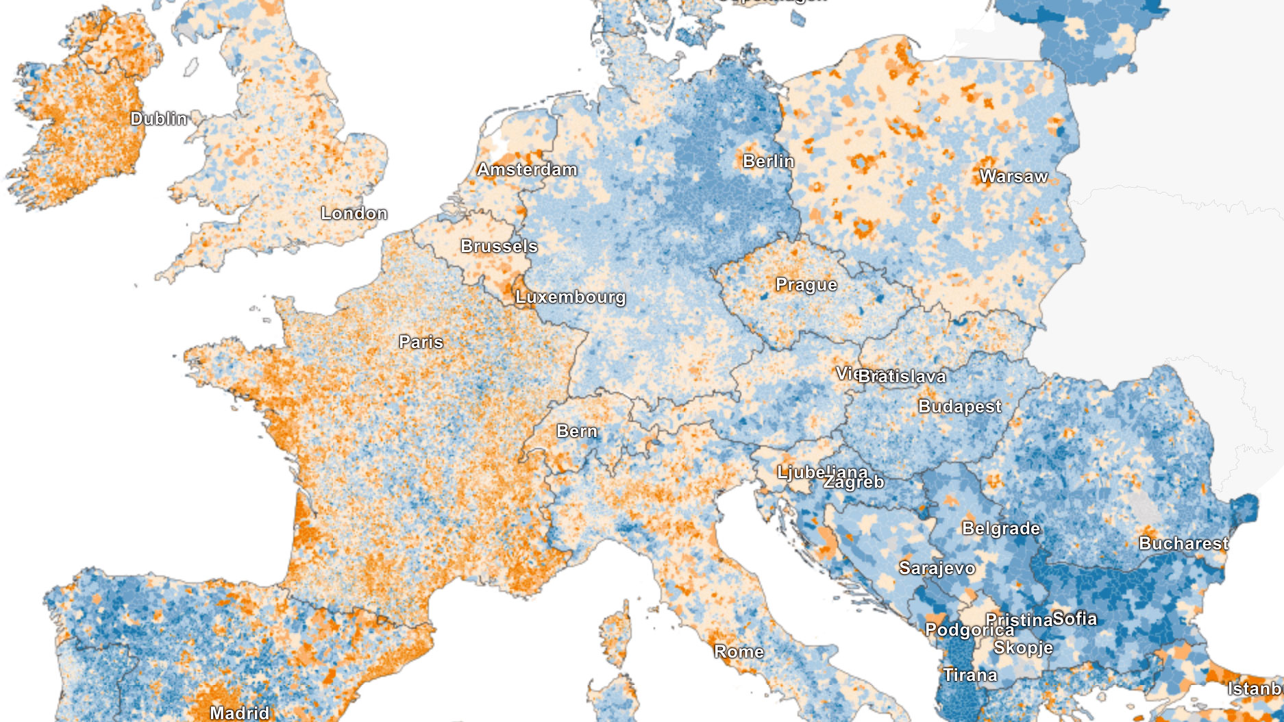 2015 Map Of Europe.Map Of European Population Growth And Decline Boing Boing