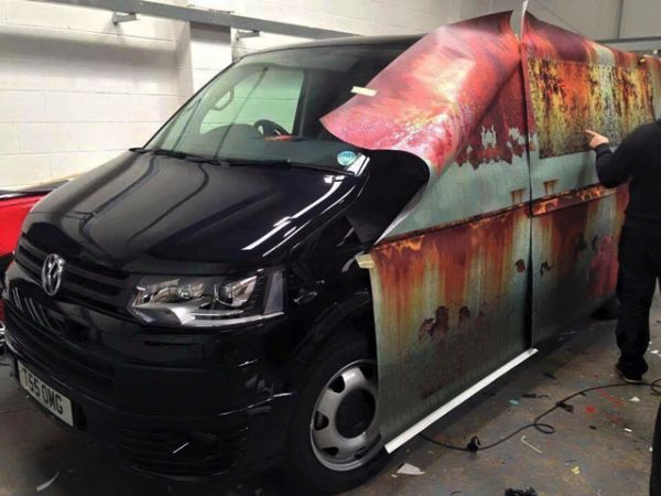 Brand New Van Wrapped To Look Like An Old Rustbucket