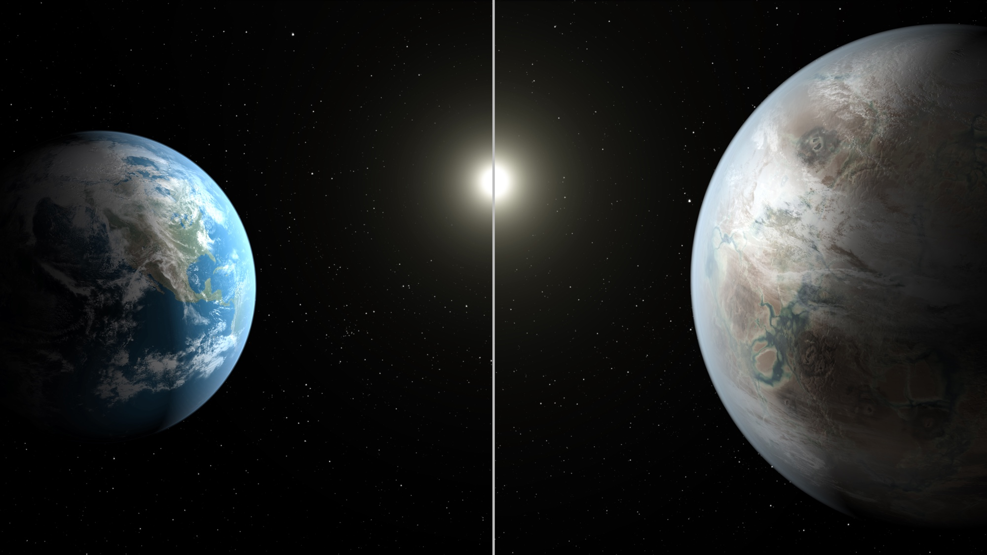 This artist's concept compares Earth (left) to the new planet, called Kepler-452b, which is about 60 percent larger in diameter. NASA/JPL-Caltech/T. Pyle