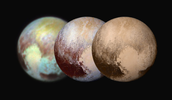 Pluto and Charon in False Color Show Compositional Diversity  This July 13, 2015, image of Pluto and Charon is presented in false colors to make differences in surface material and features easy to see. It was obtained by the Ralph instrument on NASA's New Horizons spacecraft, using three filters to obtain color information, which is exaggerated in the image.  These are not the actual colors of Pluto and Charon, and the apparent distance between the two bodies has been reduced for this side-by-side view.  The image reveals that the bright heart-shaped region of Pluto includes areas that differ in color characteristics. The western lobe, shaped like an ice-cream cone, appears peach color in this image. A mottled area on the right (east) appears bluish.  Even within Pluto's northern polar cap, in the upper part of the image, various shades of yellow-orange indicate subtle compositional differences.     The surface of Charon is viewed using the same exaggerated color. The red on the dark northern polar cap of Charon is attributed to hydrocarbon materials including a class of chemical compounds called tholins. The mottled colors at lower latitudes point to the diversity of terrains on Charon.  This image was taken at 3:38 a.m. EDT on July 13, one day before New Horizons' closest approach to Pluto.   Image Credit: NASA/APL/SwRI