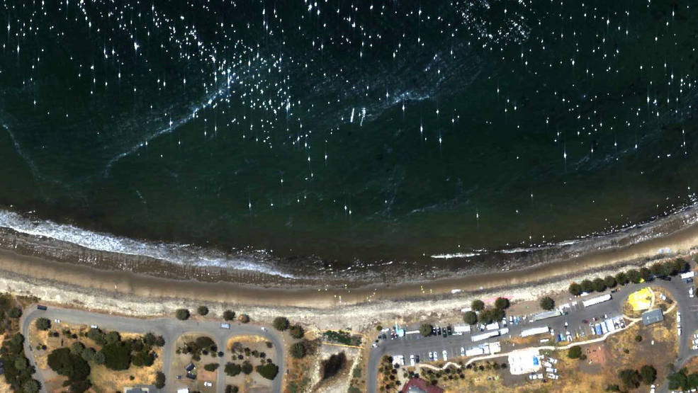 AVIRIS-NG red-green-blue (visible) aerial image of the Refugio Incident oil spill, showing oil on the water and on nearby Santa Barbara Channel beaches. NASA/JPL-Caltech