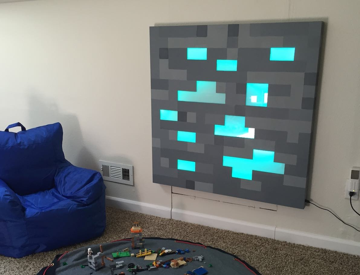 father builds glowing life sized minecraft block for son u0027s
