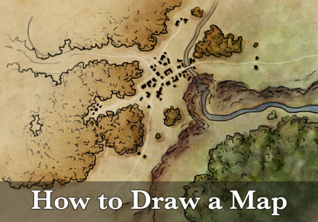 How to draw a map - a tutorial on creating a map from sketch to finally rendered map