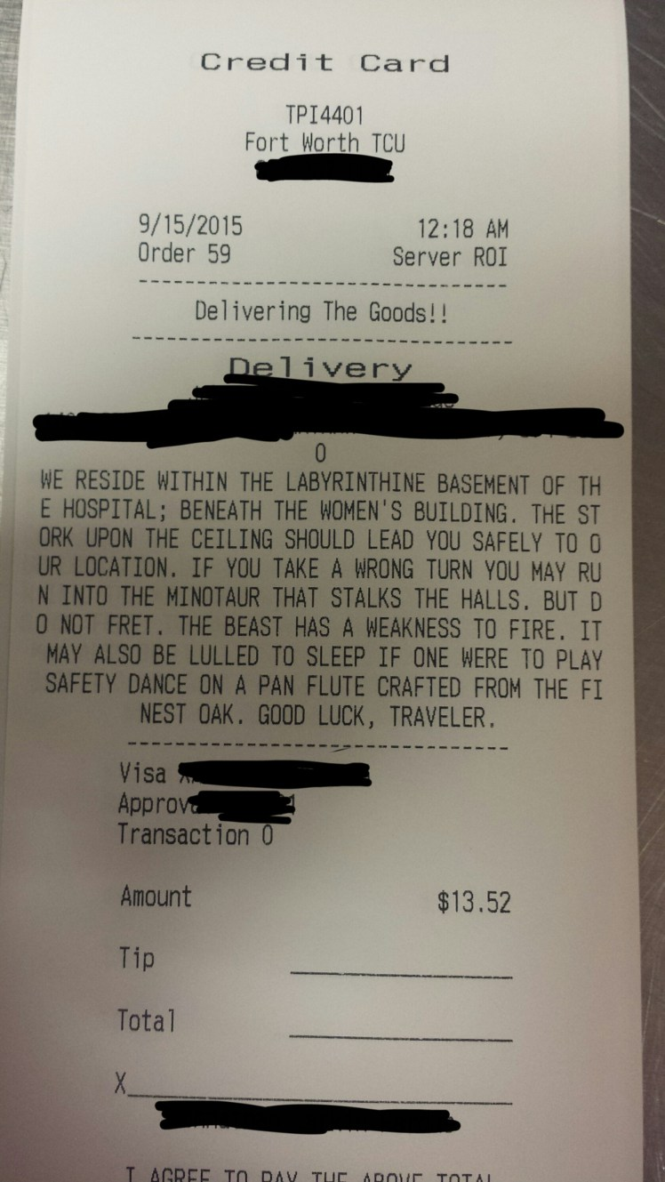 pizza receipt warns of labyrinth  minotaur    boing boing