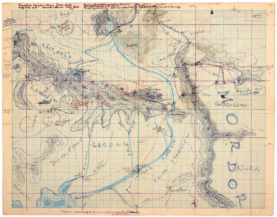 See Tolkien's unpublished drawings of Middle-earth and his entire literary universe