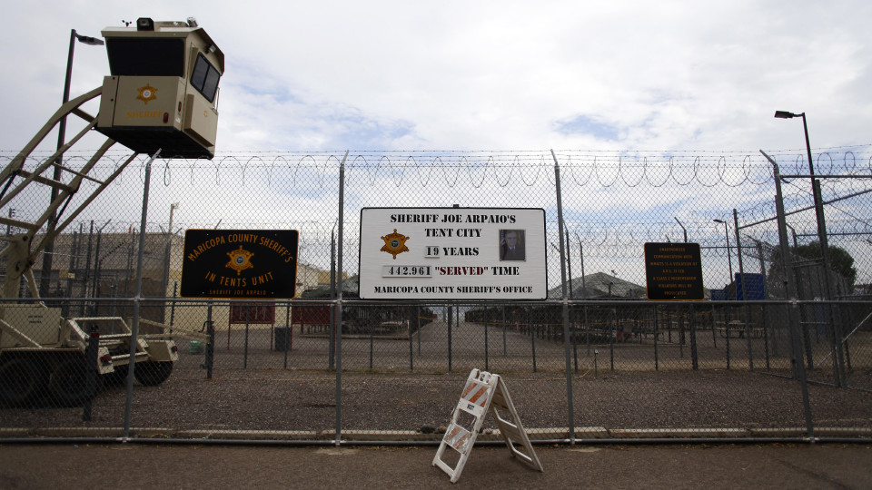"Outside Phoenix's ""Tent City"" jail REUTERS//Joshua Lott"