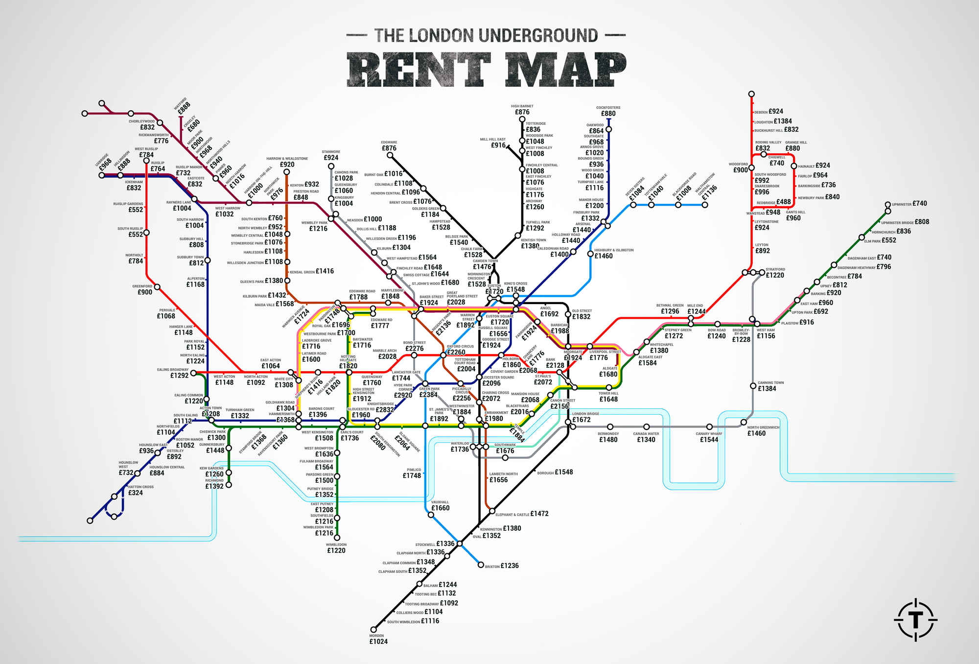 Tube-map labelled with one-bedroom flat rental rates / Boing Boing
