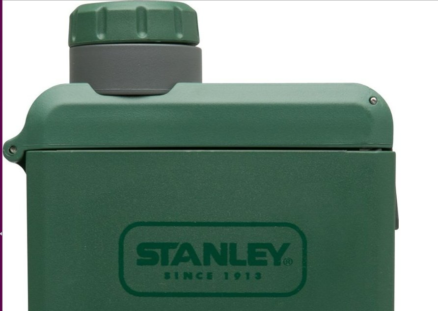 Square, lightweight plastic flask from Stanley