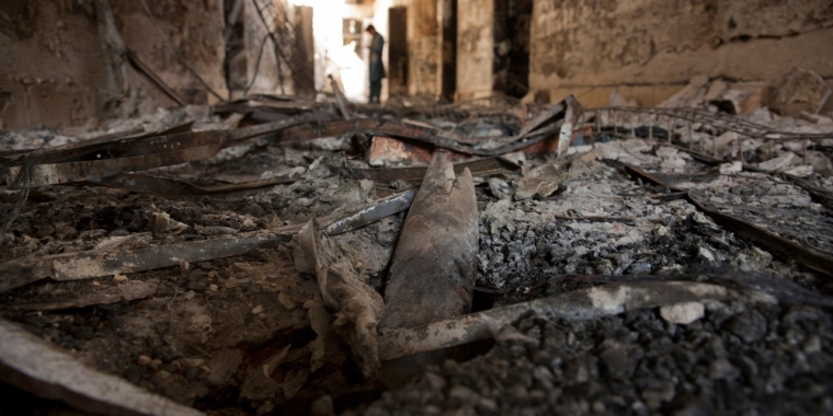 Debris litters the floor in MSF's Kunduz Trauma center. [Photo: MSF]