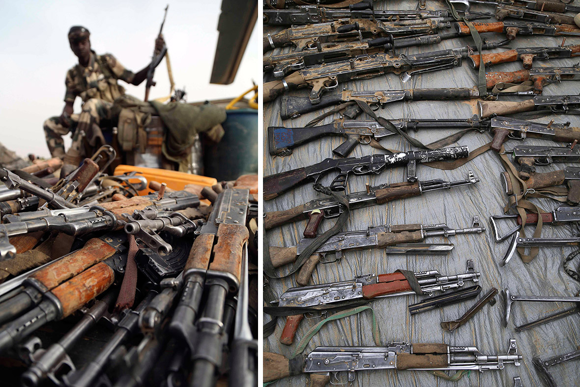 Weapons captured from Boko Haram. [Reuters]