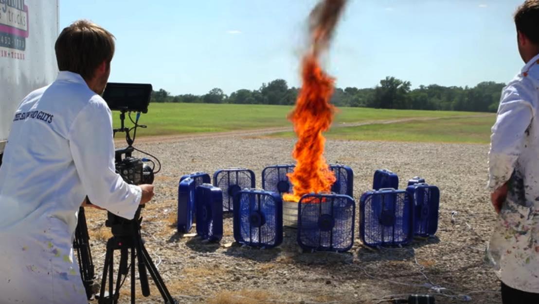 Slow motion film of a fire tornado